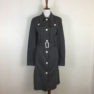 Michael Kors Polka Dot Cotton Belted Trench Coat